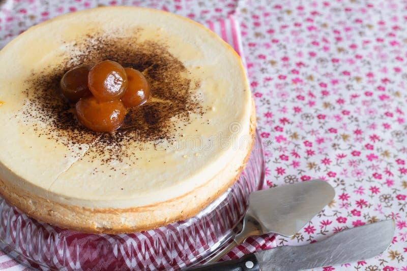 Torta di formaggio, dessert aerato della ricotta fotografia stock