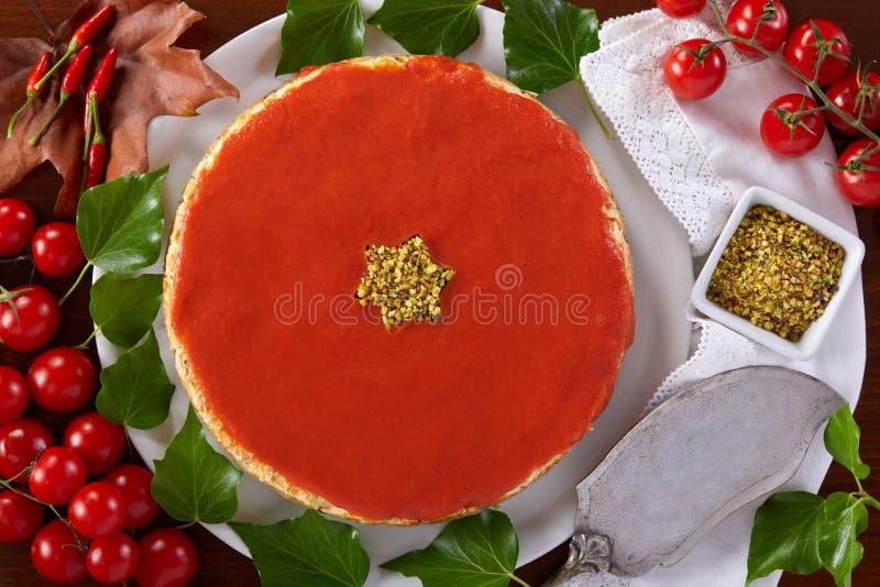 Torta di formaggio saporita di Natale immagini stock libere da diritti