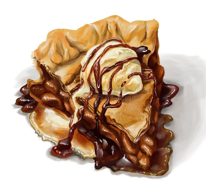Torta di mele con il gelato della vaniglia e lo sciroppo d'acero delizioso illustrazione vettoriale