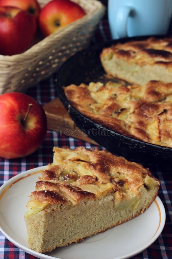 Torta di mele dolce pronta a casa Dell'alimento vita ancora immagini stock libere da diritti