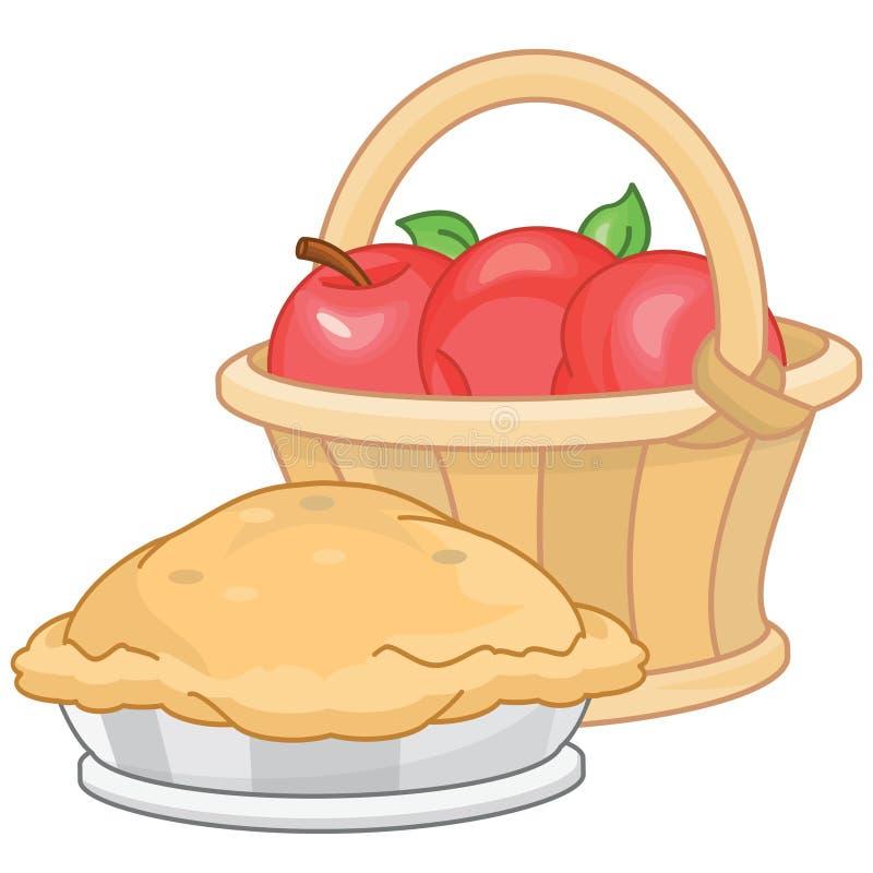 Torta di mele e mele fresche in un canestro illustrazione di stock