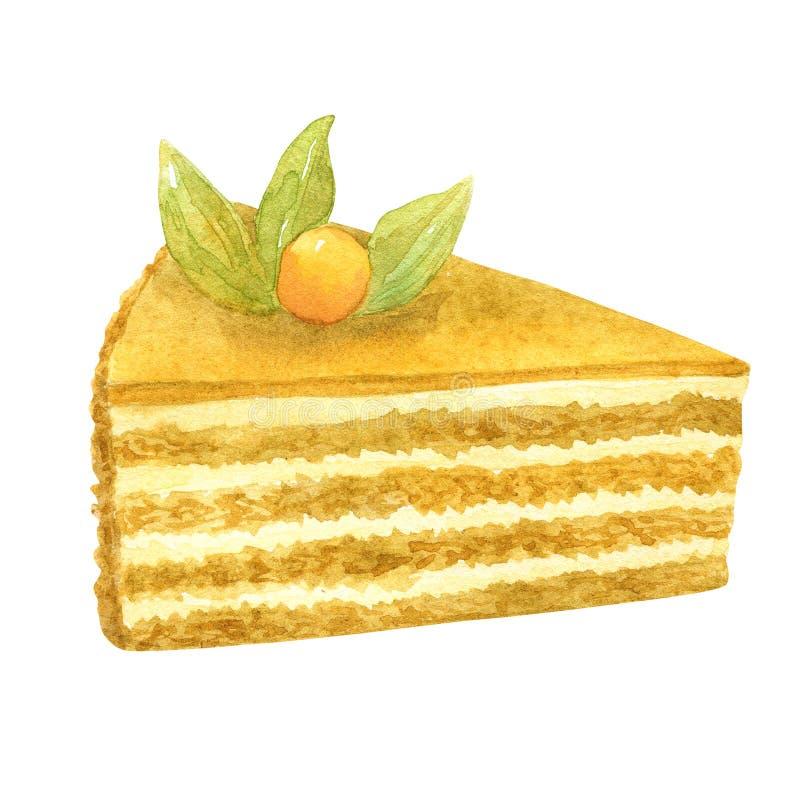 Torta di miele affettata Biscotto, crema e bacca beige come decorazione Illustrazione disegnata a mano dell'acquerello Isolato su illustrazione di stock