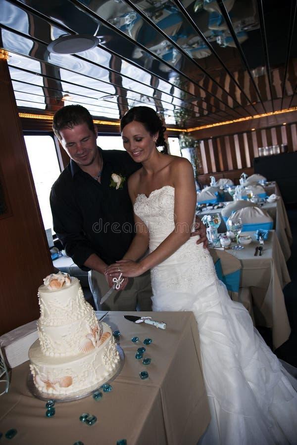 Torta di taglio dello sposo e della sposa fotografie stock libere da diritti