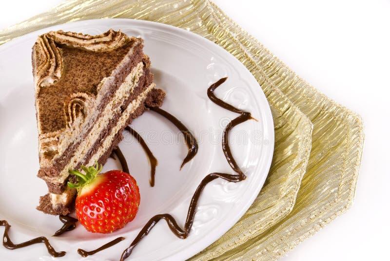 Torta di Tiramisu con la fragola immagine stock