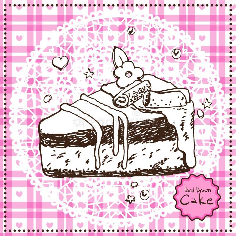 Torta dibujada mano. Ejemplo del vector. libre illustration