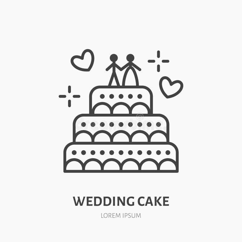 Torta 8 do casamento Logotipo dos confeitos, linha lisa ícone padaria ilustração royalty free