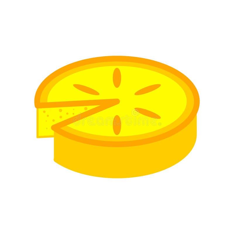 Torta do limão isolada Ilustração do vetor do bolo amarelo ilustração royalty free