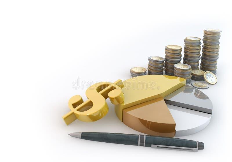 Torta do negócio da pilha do dinheiro ilustração royalty free