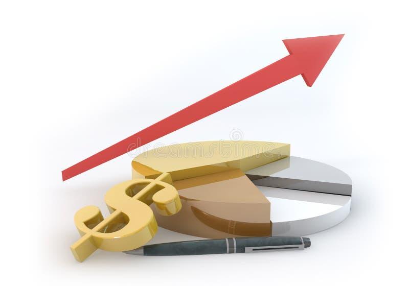 Torta do negócio do dólar com crescimento acima ilustração royalty free