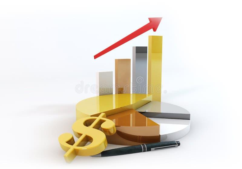 Torta do negócio do dólar com crescimento do gráfico de barra acima ilustração stock