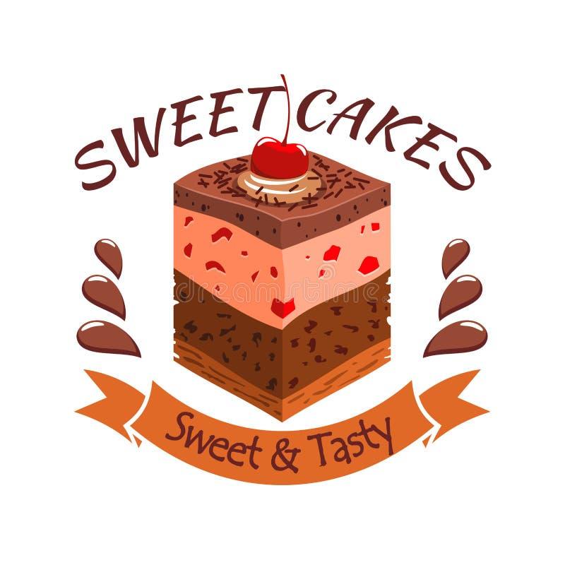 Torta dolce con le bacche Emblema del negozio del forno illustrazione di stock