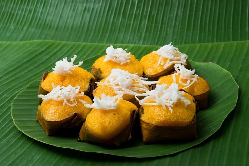 Torta dolce tailandese della palma da zucchero del dessert con la noce di cocco fotografie stock libere da diritti