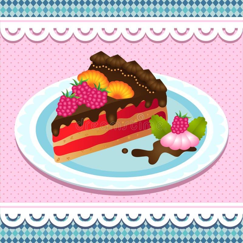 Torta dulce con el chocolate stock de ilustración