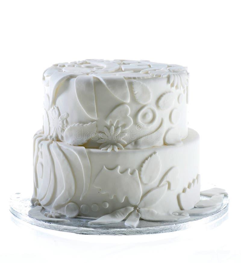 Torta dulce del partido de la celebración de la vainilla del pastel de bodas imagen de archivo