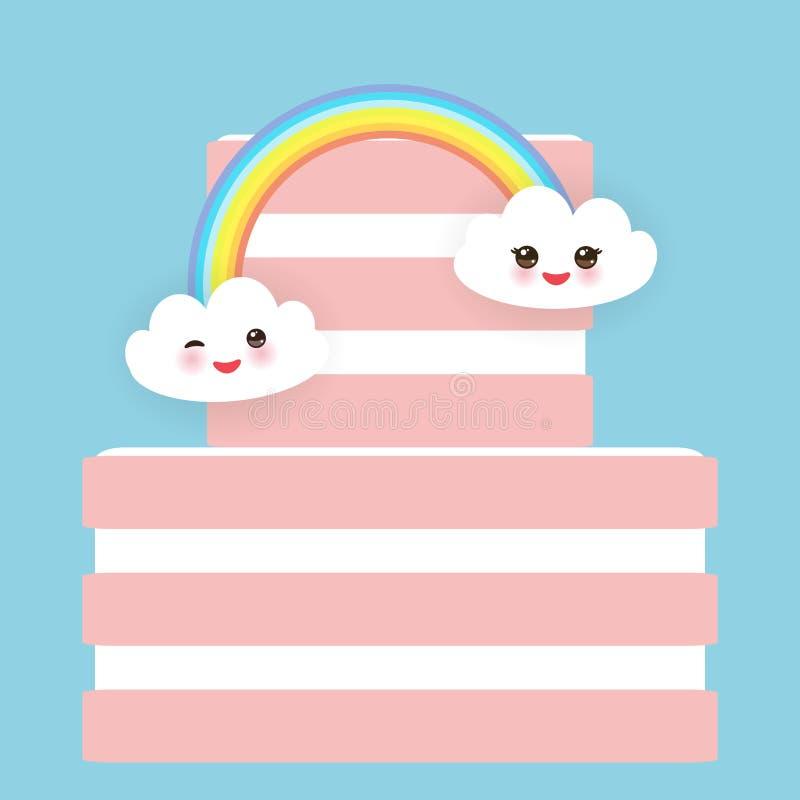 Torta dulce del rosa de la fresa del feliz cumpleaños de Kawaii, crema blanca, nubes, arco iris, diseño de la bandera, plantilla  stock de ilustración