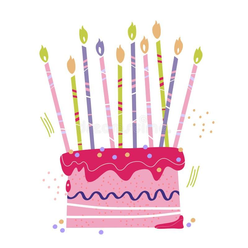 Torta dulce exhausta de la mano para el día de fiesta stock de ilustración
