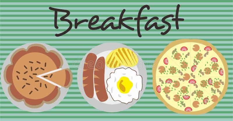 Torta e pizza del menu della prima colazione immagine stock libera da diritti