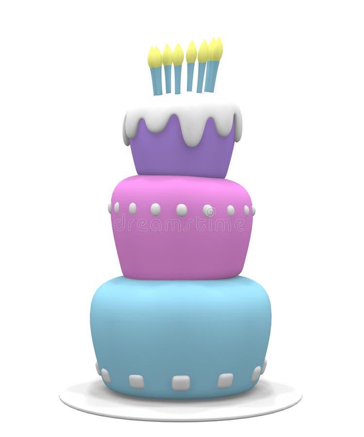 Torta en colores pastel stock de ilustración