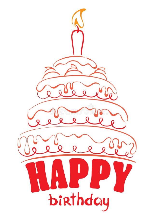 Torta - feliz cumpleaños ilustración del vector