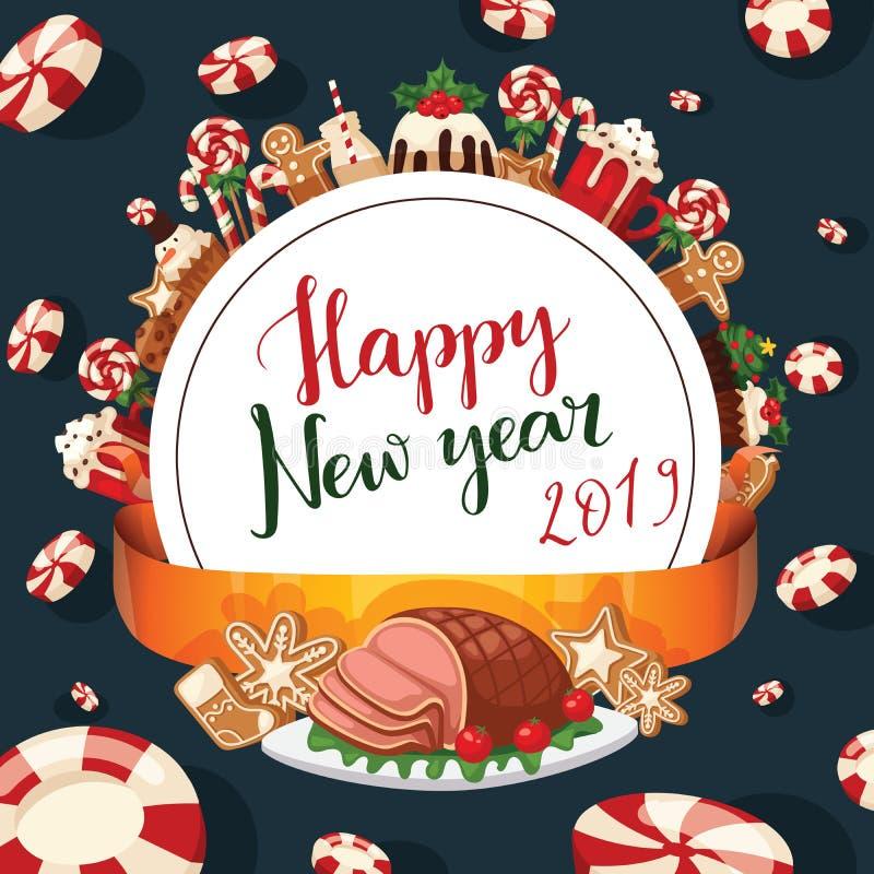 Torta festiva tradicional del invierno de la celebración dulce de la comida del Año Nuevo de la Navidad 2019 y de Navidad de la d stock de ilustración