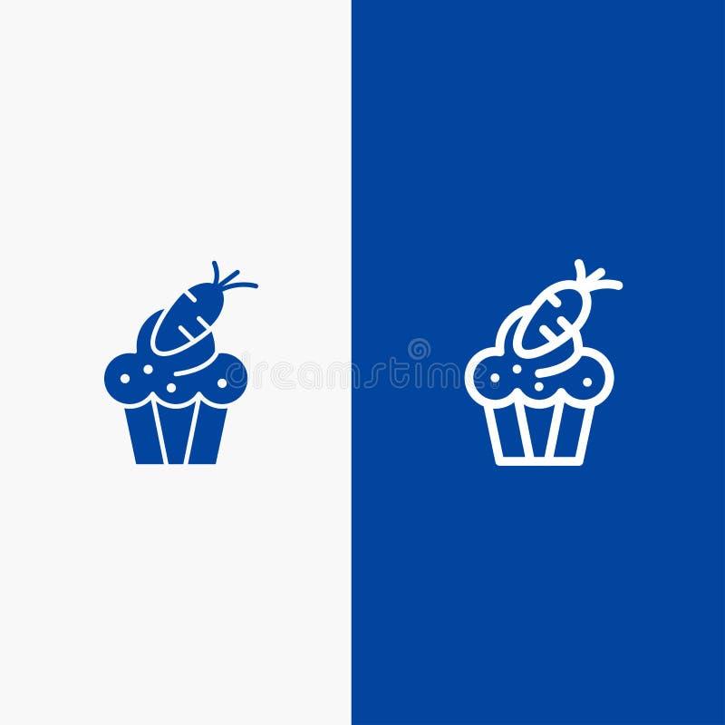 Torta, filiżanki, jedzenia, wielkanocy, marchewki linii i glifu Stałej ikony sztandaru glifu, Błękitnej ikony błękita Stały sztan ilustracji