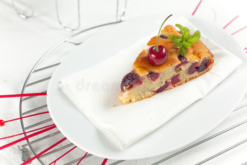 Torta Fresca De Las Cerezas Foto de archivo