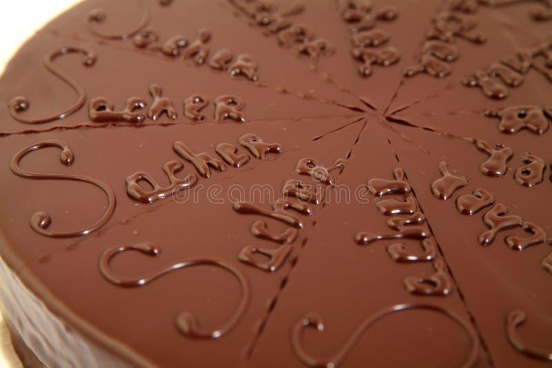 Torta fresca del sacher del chocolate fotos de archivo libres de regalías