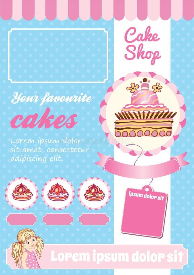 Torta i deseru Sklepowy szablon royalty ilustracja