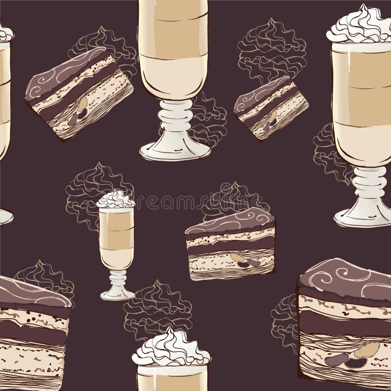 Torta i kawy wzór ilustracja wektor
