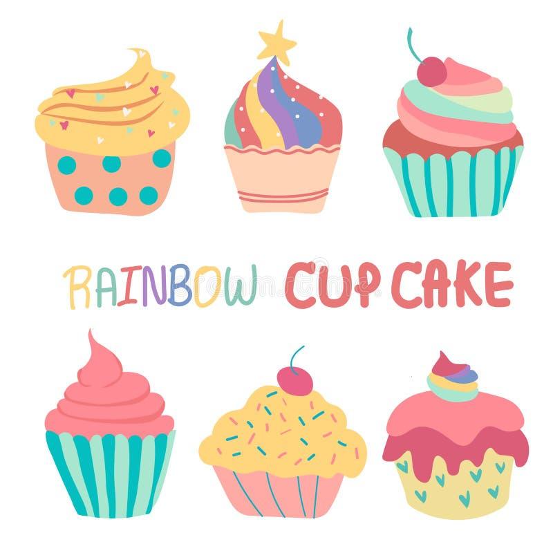 Torta linda dibujada mano de la taza del arco iris del garabato ilustración del vector