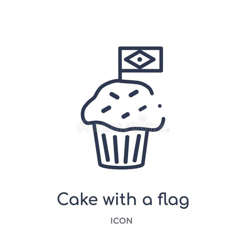 Torta linear con un icono de la bandera de la colección del esquema de la cultura Línea fina torta con un vector de la bandera ai libre illustration