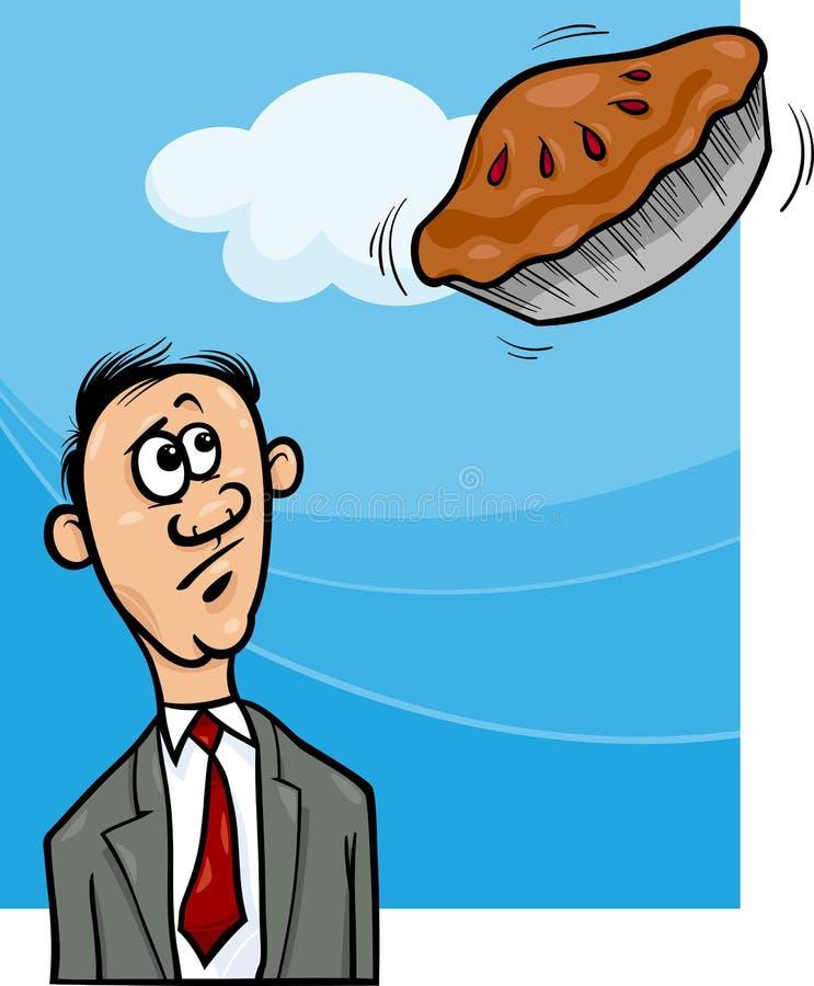 Torta no céu que diz desenhos animados ilustração stock