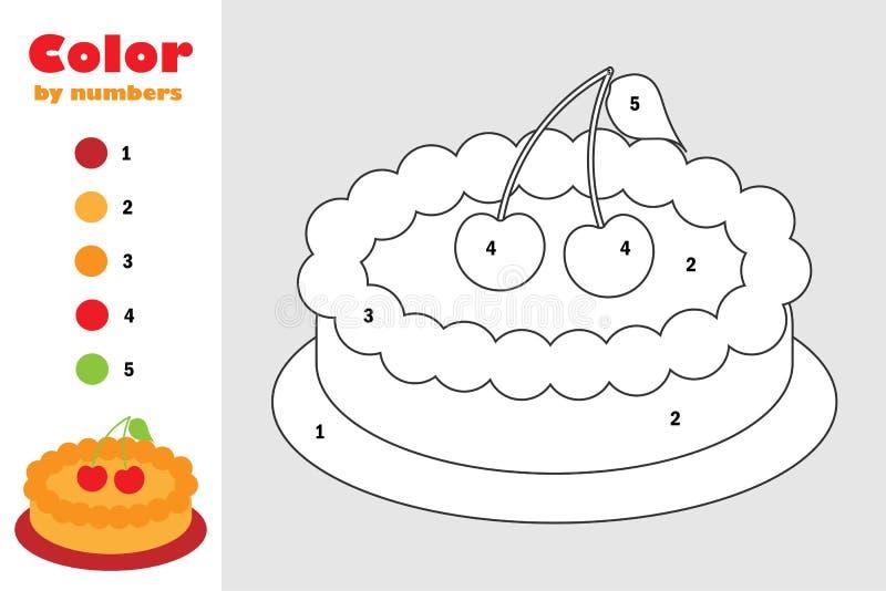 Torta no estilo dos desenhos animados, cor pelo número, jogo do papel da educação para o desenvolvimento das crianças, página col ilustração do vetor