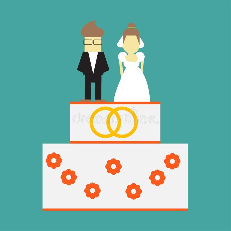 Torta nunziale con gli anelli e cappelli a cilindro sposa e cartolina d'auguri di vettore dello sposo illustrazione di stock