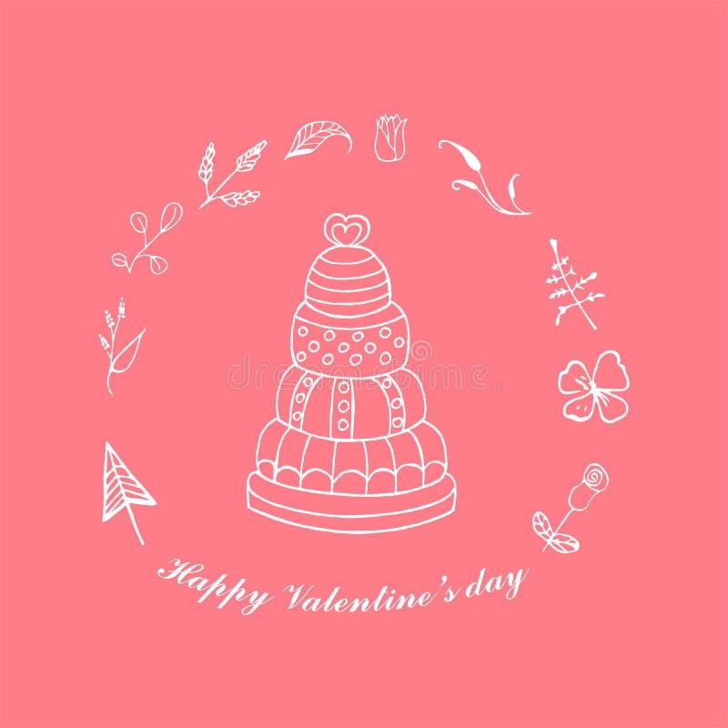 Torta nunziale della cartolina d'auguri, torta di compleanno, giorno del ` s del biglietto di S. Valentino, disegnato a mano illustrazione vettoriale
