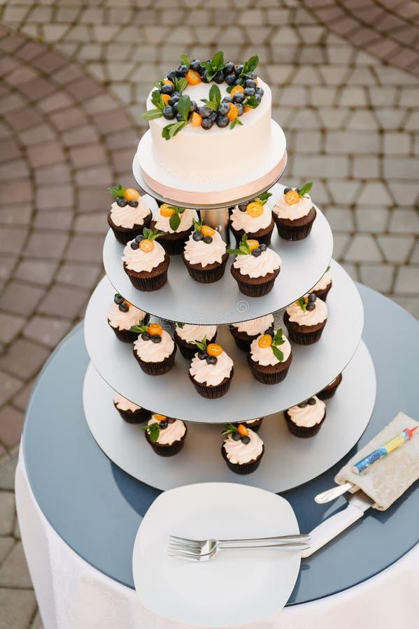 Torta nunziale dolce fatta dal bigné fresco della bacca con il fondo del bokeh fotografia stock