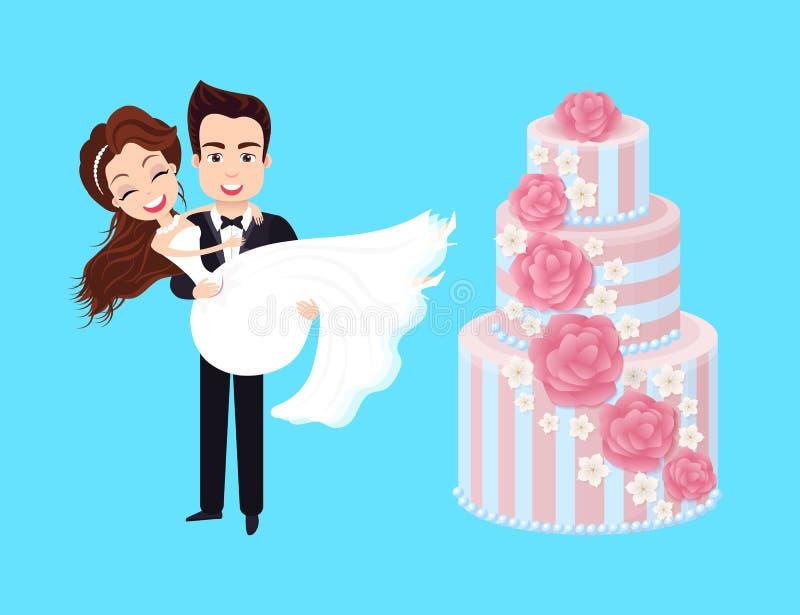 Torta nunziale, sposo e sposa, vettore della persona appena sposata illustrazione vettoriale