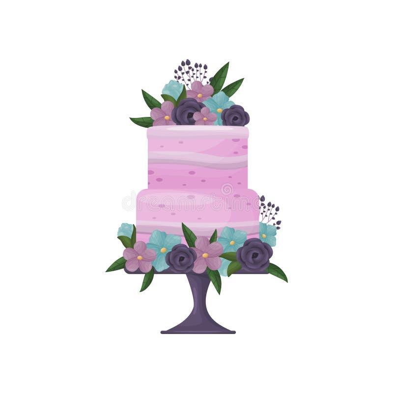 Torta púrpura de dos niveles con las tiras de crema en un soporte azul profundo con una pierna Ilustraci?n del vector en el fondo ilustración del vector