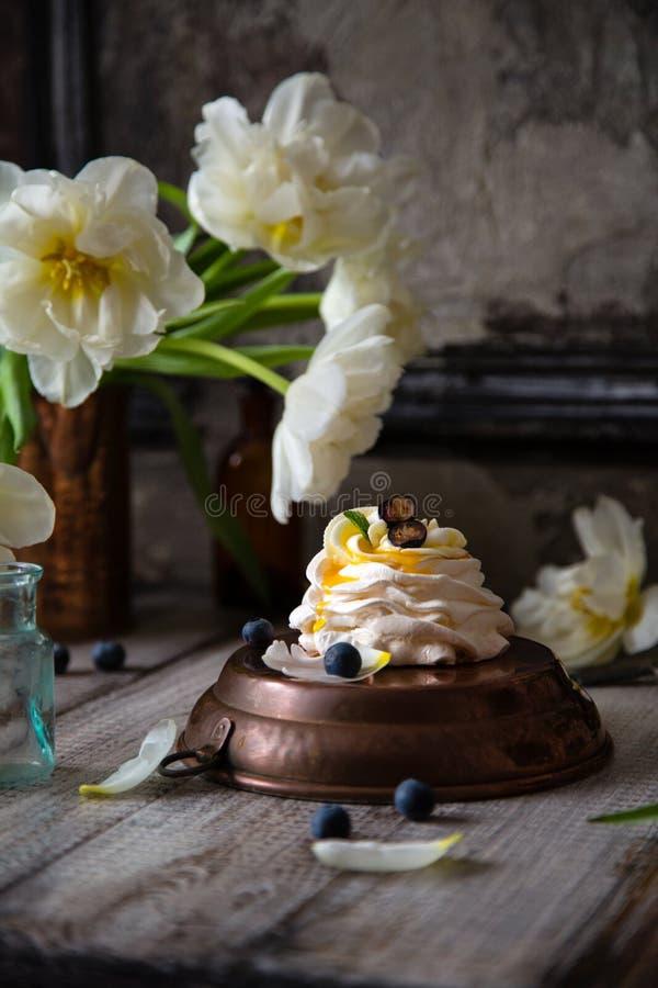 Torta Pavlova del merengue fotografía de archivo