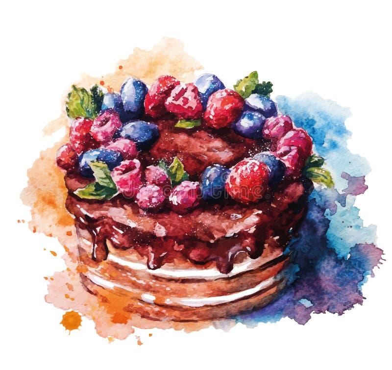 Torta pintada a mano de la acuarela Ilustración del vector stock de ilustración