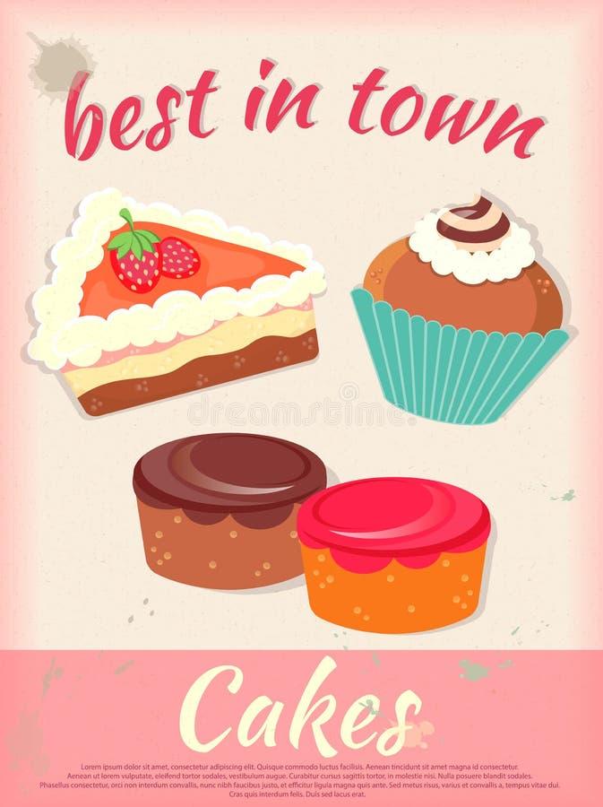 Torta Plakatowy Best w Grodzkim rocznika stylu ilustracji