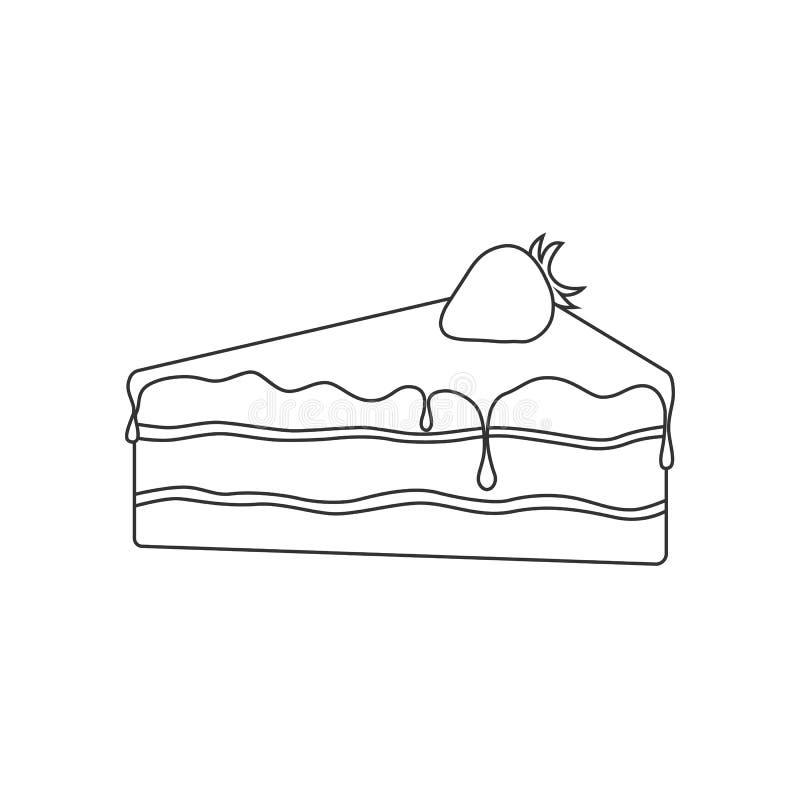 torta preta do esboço do bolo de esponja do aniversário com o chocolate e a morango no fundo branco ilustração royalty free