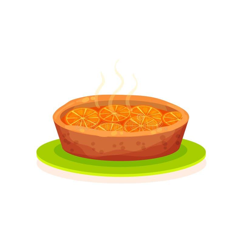 A torta recentemente cozida com laranjas vector a ilustração em um fundo branco ilustração do vetor