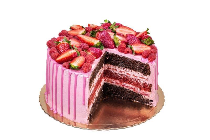 Torta rosada de la fruta, para un cumpleaños, de la fresa fotos de archivo libres de regalías