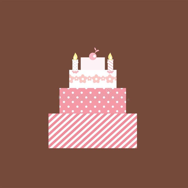 Torta rosada linda stock de ilustración