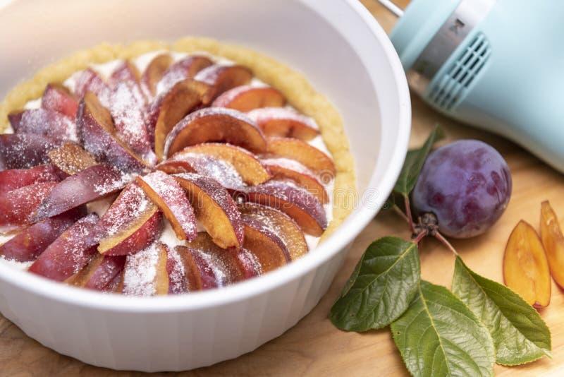Torta roxa orgânica recentemente cozida da ameixa do fruto de pedra imagens de stock