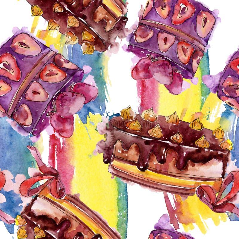 Torta sabrosa con las frutas en un estilo de la acuarela aisladas Ilustraci?n dulce del postre Modelo incons?til del fondo ilustración del vector