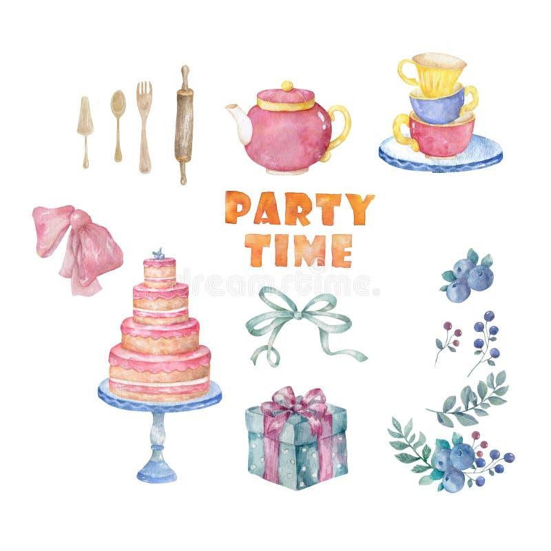Torta sabrosa del rosa de la acuarela, tabla, té de la taza, menú, arco para la tarjeta de cumpleaños de la celebración Clip art  ilustración del vector