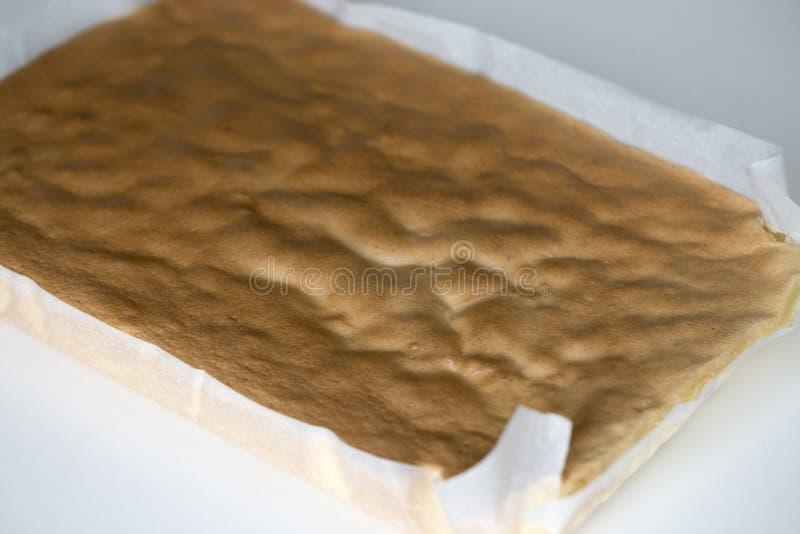 Torta suave de la esponja deliciosa Torta hecha en casa de la gasa o de esponja foto de archivo libre de regalías