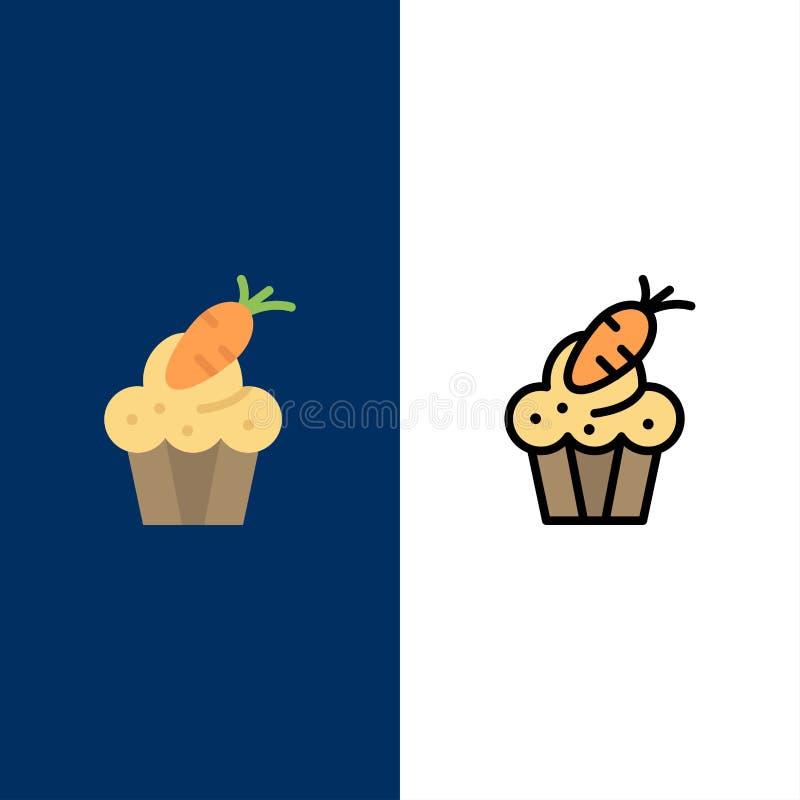 Torta, taza, comida, Pascua, iconos de la zanahoria El plano y la línea icono llenado fijaron el fondo azul del vector ilustración del vector